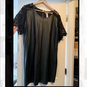 Womens Mini Pleather and lace dress